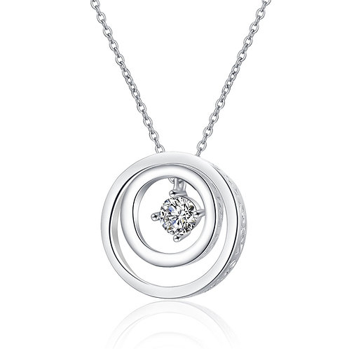 Sterling Silver CZ Double Circle Pendant