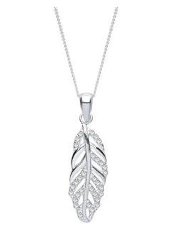 Sterling Silver Austrian crystal leaf pendant