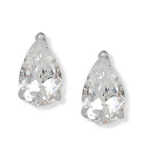 Sterling Silver Pear Drop CZ Studs
