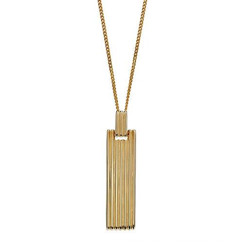 9ct Gold Ridged Bar Pendant