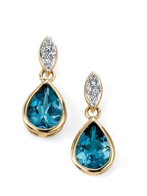 9ct Gold Diamond & Blue Topaz Droppers