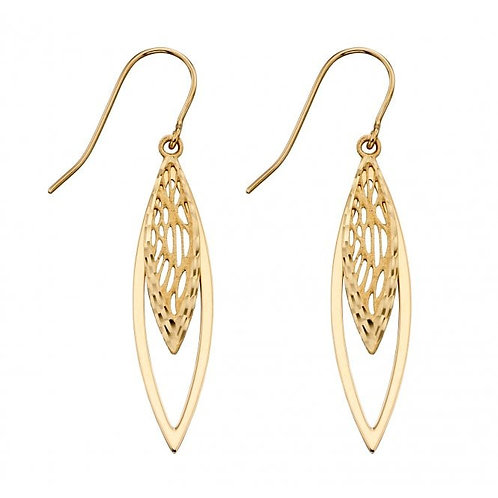9ct Gold Overlapping Filigree Droppers