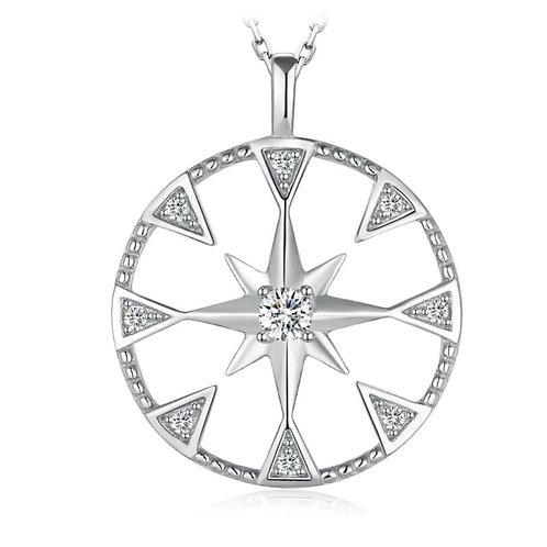 Sterling Silver CZ North Star Pendant