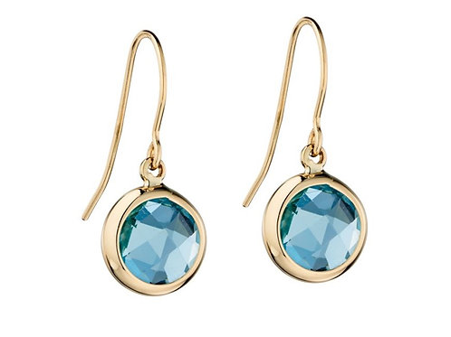 9ct Gold Faceted Blue Topaz Droppers