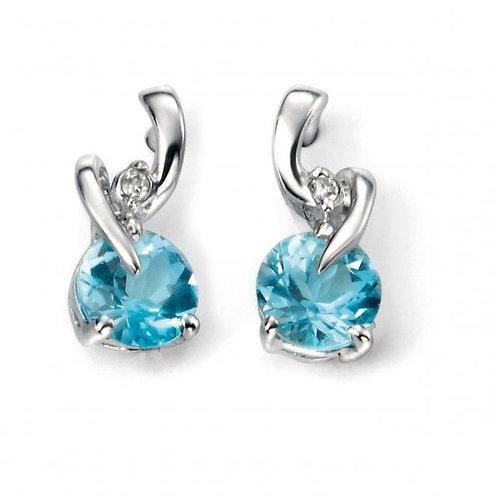 9ct White Gold Swiss Blue Topaz & Diamond Earrings