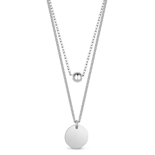Sterling Silver Bead & Disc Double Chain Necklace