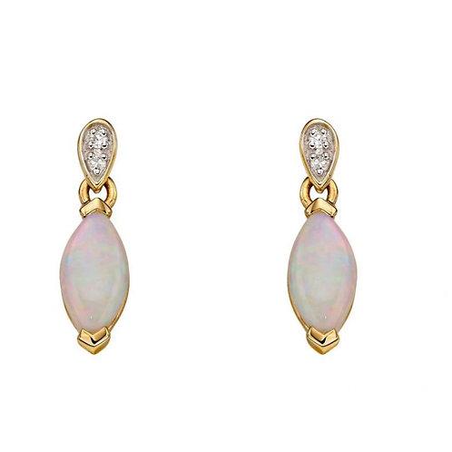9ct Gold Opal & Diamond Earrings
