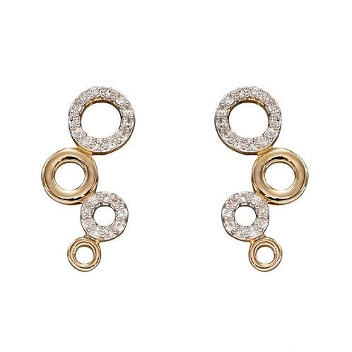 9ct Gold Diamond Bubble Earrings
