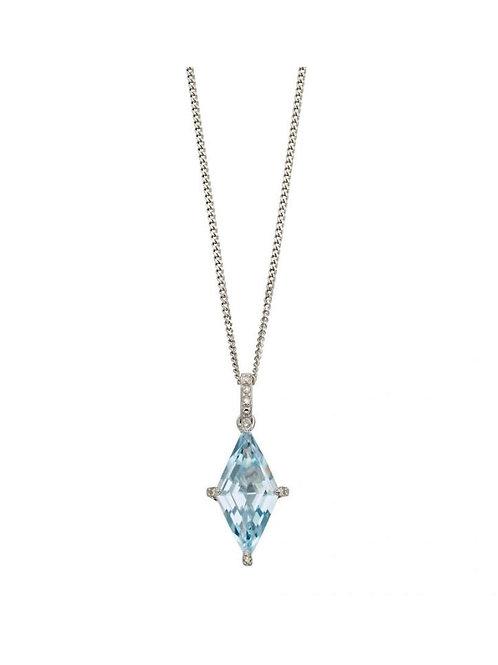9ct White Gold Blue Topaz & Diamond Pendant
