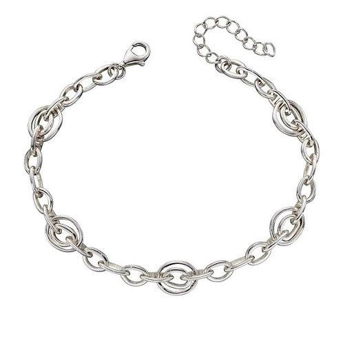 Sterling Silver organic oval bracelet