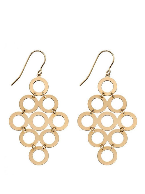 9ct Gold Geometric Circle Droppers