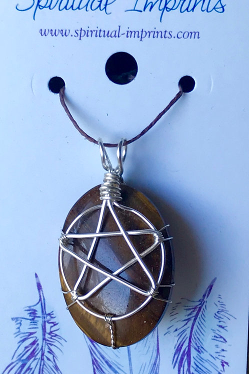 Pentagram Tiger's Eye Pendant
