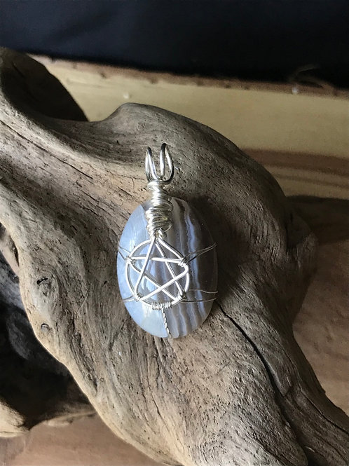 Pentagram Agate Pendant