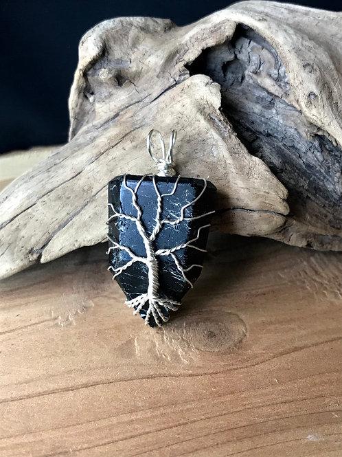 Tree Of Life Black Tourmaline Pendant