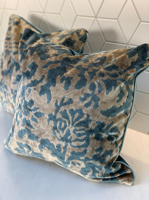 Cut Velvet cushion with 'Dragonfly' velvet reverse - 2 available