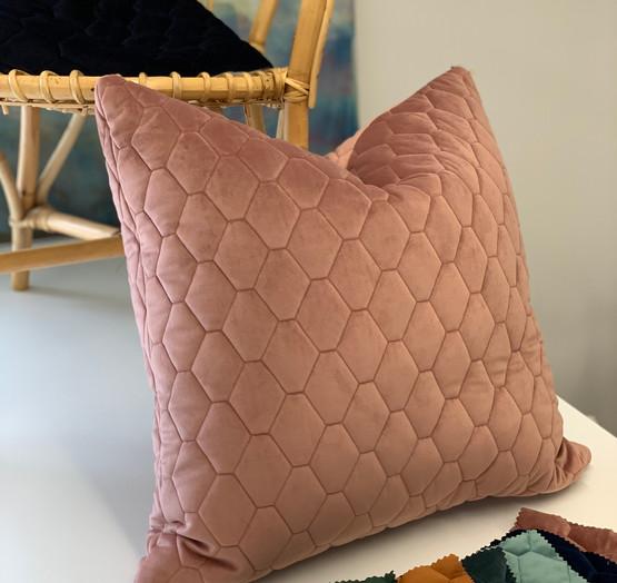Custom quilted velvet cushion