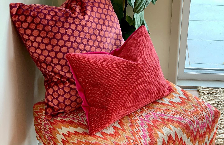 Flame ottoman with custom cushions