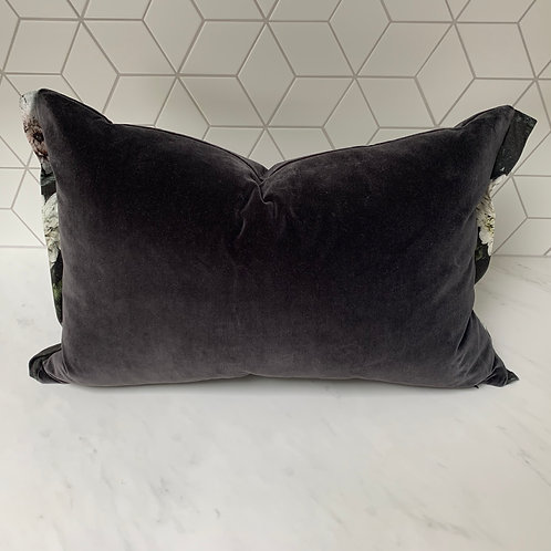 Velluto di Cotone cushion with Designers Guild 'Dahlia Noir' flange