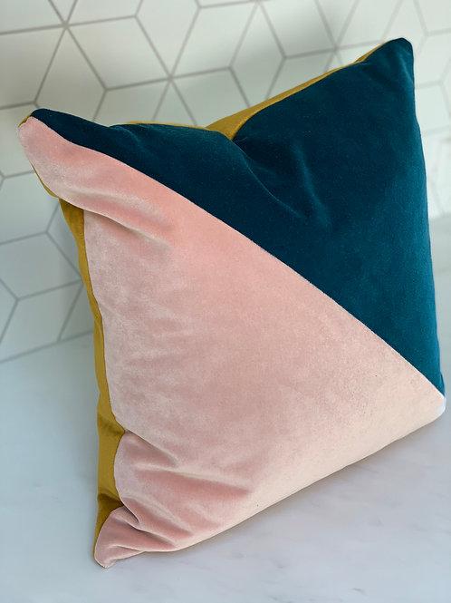 Linwood Tango velvet cushion in 'Blossom' and 'Petrol' 45cm x 45cm