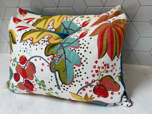 Linen cotton fruit print cushion - 2 available
