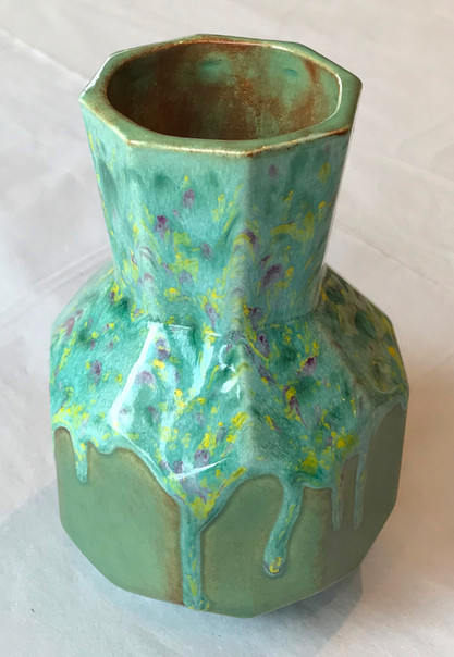 Faceted Vase with Crystal Glaze