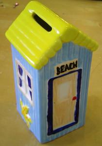 Blue Beach Hut Money Box