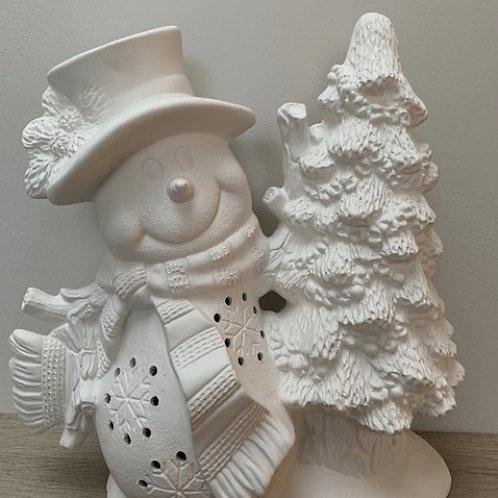 Snowman with Tree Tealight Holder