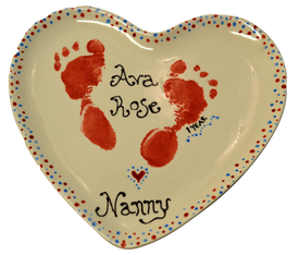 Red Feet on Heart Plate