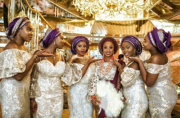 Bride and bridesmaids - Wedding ceremony - Nigerian wedding ceremony