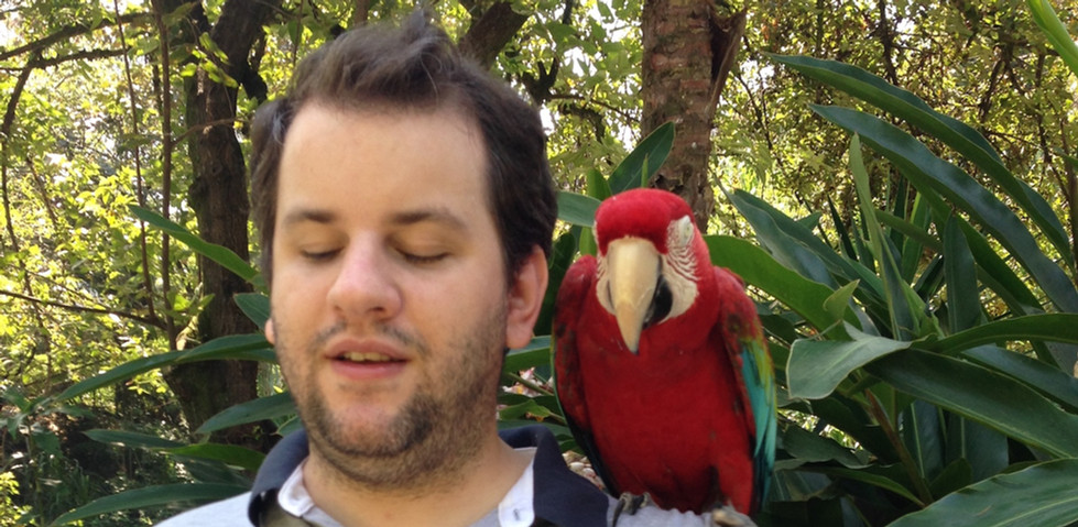 Juan Pablo Culasso with Macaw at the Cali Zoo 2017