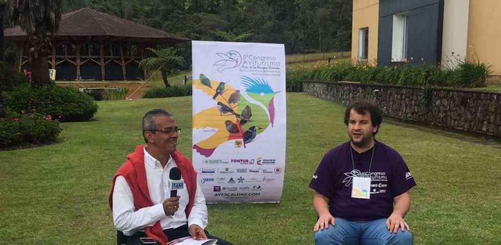 Juan Pablo Culasso in an interview at the fifth avitourism congress Manizales, Caldas, Colombia, 2016