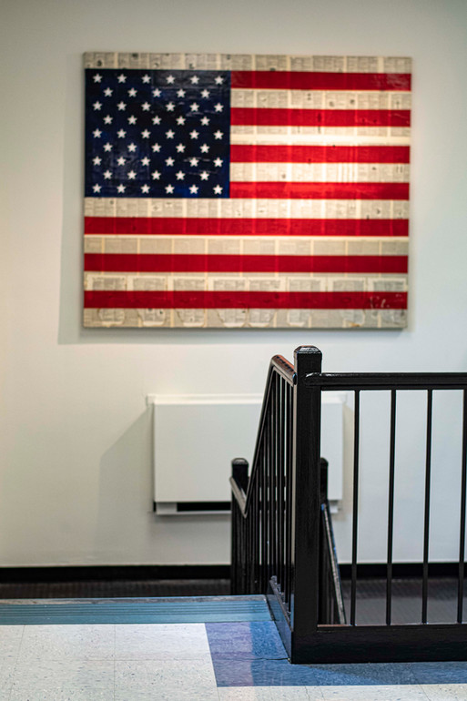 Peter Tunney's Flag Art at the school house.