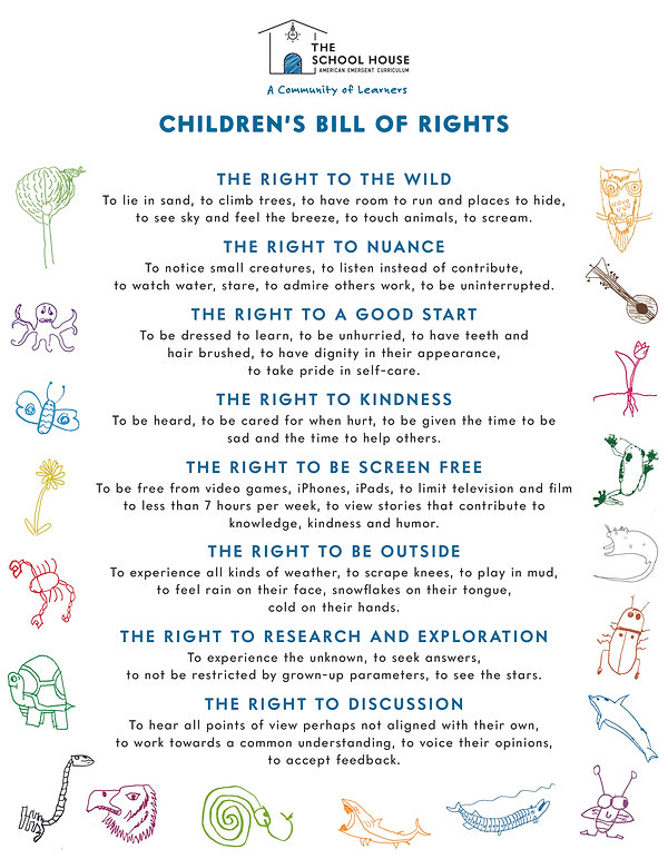 The School House Children's BILL OF RIGH