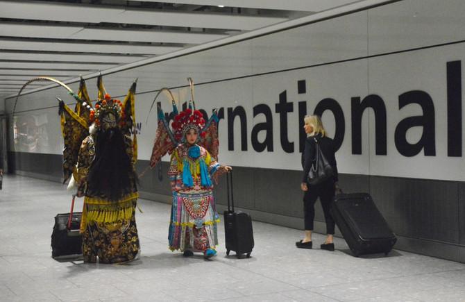 The China National Peking Opera Company arrive at Heathrow