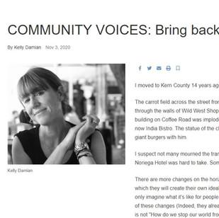 COMMUNITY VOICES: Bring back the Kern - November 3, 2020