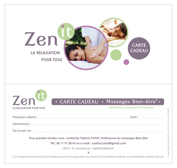 ZEN IT - Carte Cadeau format 10 x 21 cm, R°V°