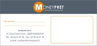 MONEYPRET - Carte Correspondance, format 21 x 10 cm