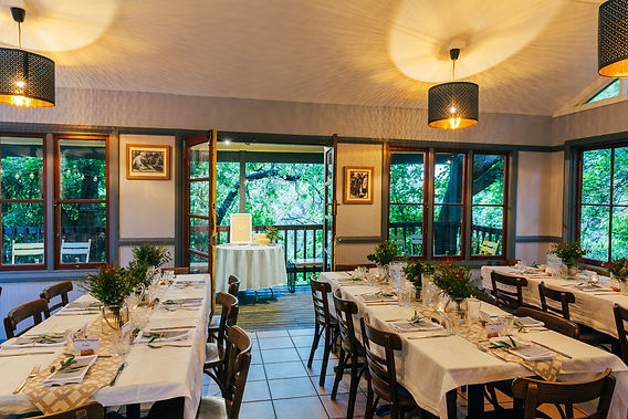Lindsays main function room offers creativity, beauty, and a blend of indoors, outdoors, and bushland