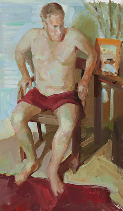 untitled man getting up oil on canvas paper 70.1 x 49