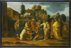 Christ healing the blind after poussin oil on linen 24