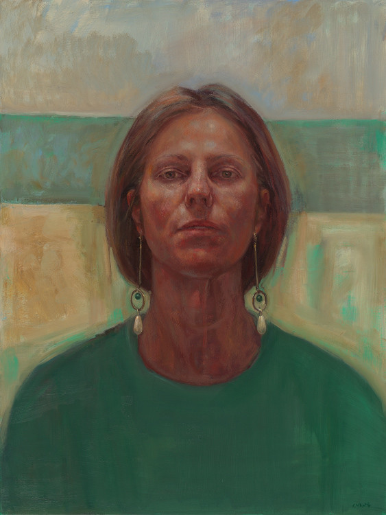 Self portrait with favourite earrings - semi finalist in the London BP Portrait Prize