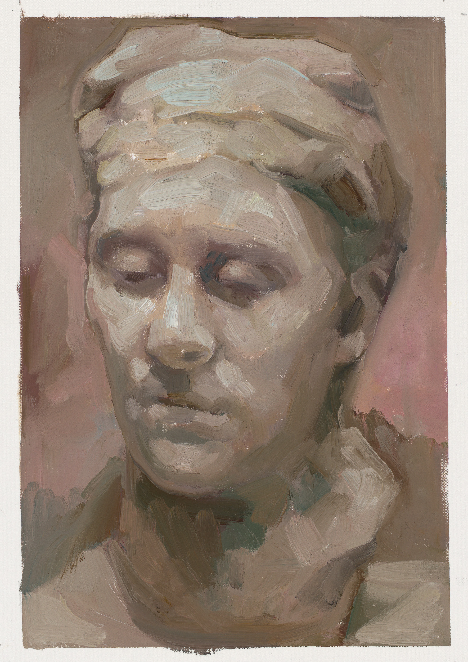 Study of Rodin head framed oil on canvas