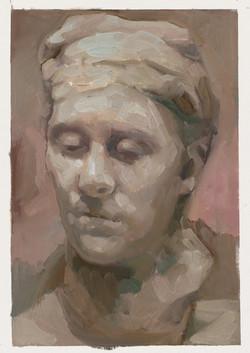 Study of Rodin head framed oil on canvas