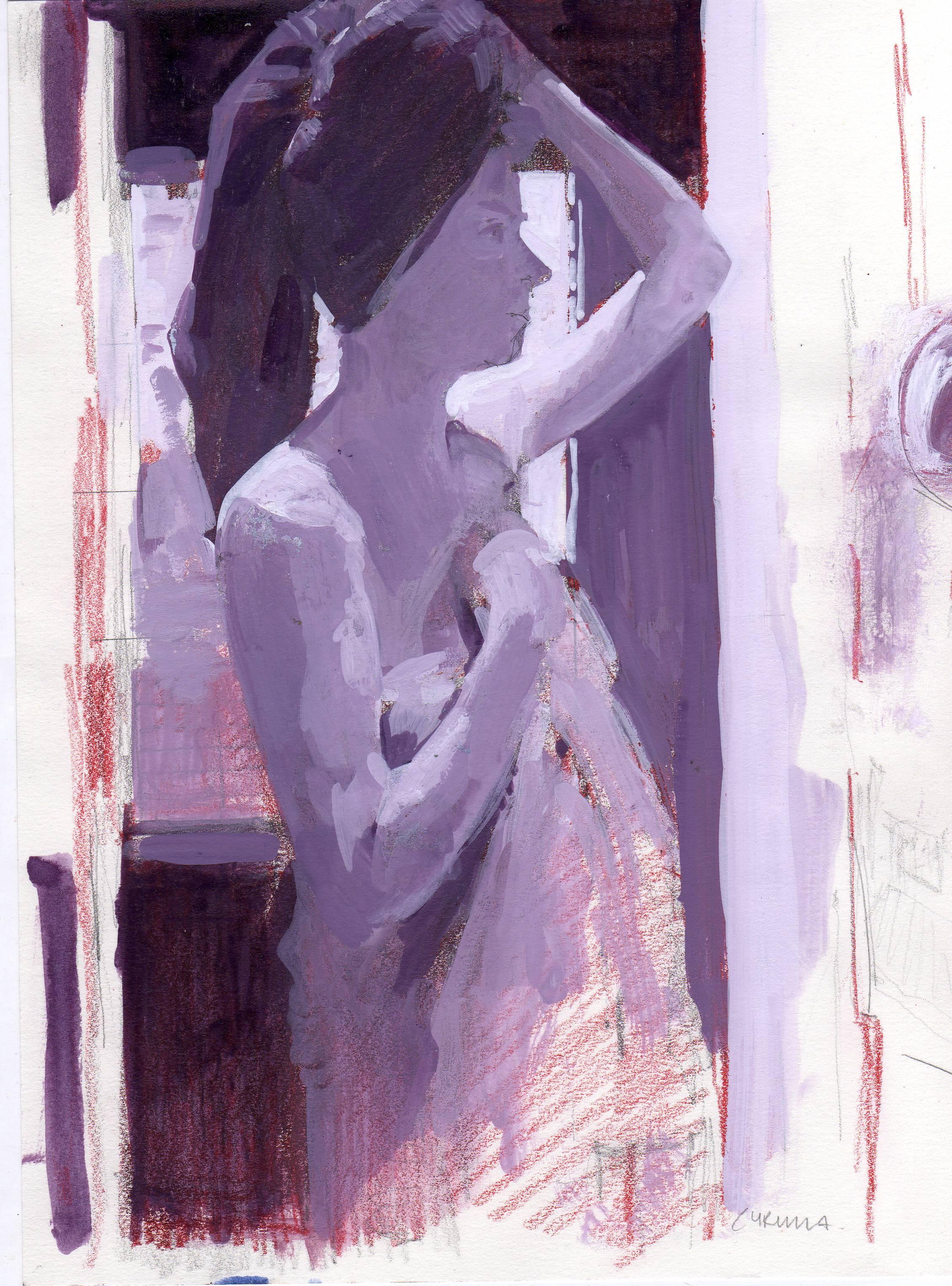 SOLD Eric Fischl gift_ Bathroom 25 x 20cm 004