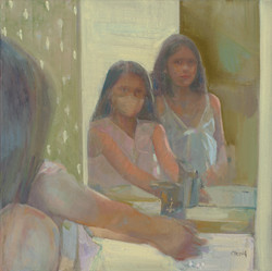 washing hands ritual oil on linen framed