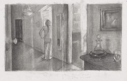 A few rooms drawing 21 x 36cm pencil on