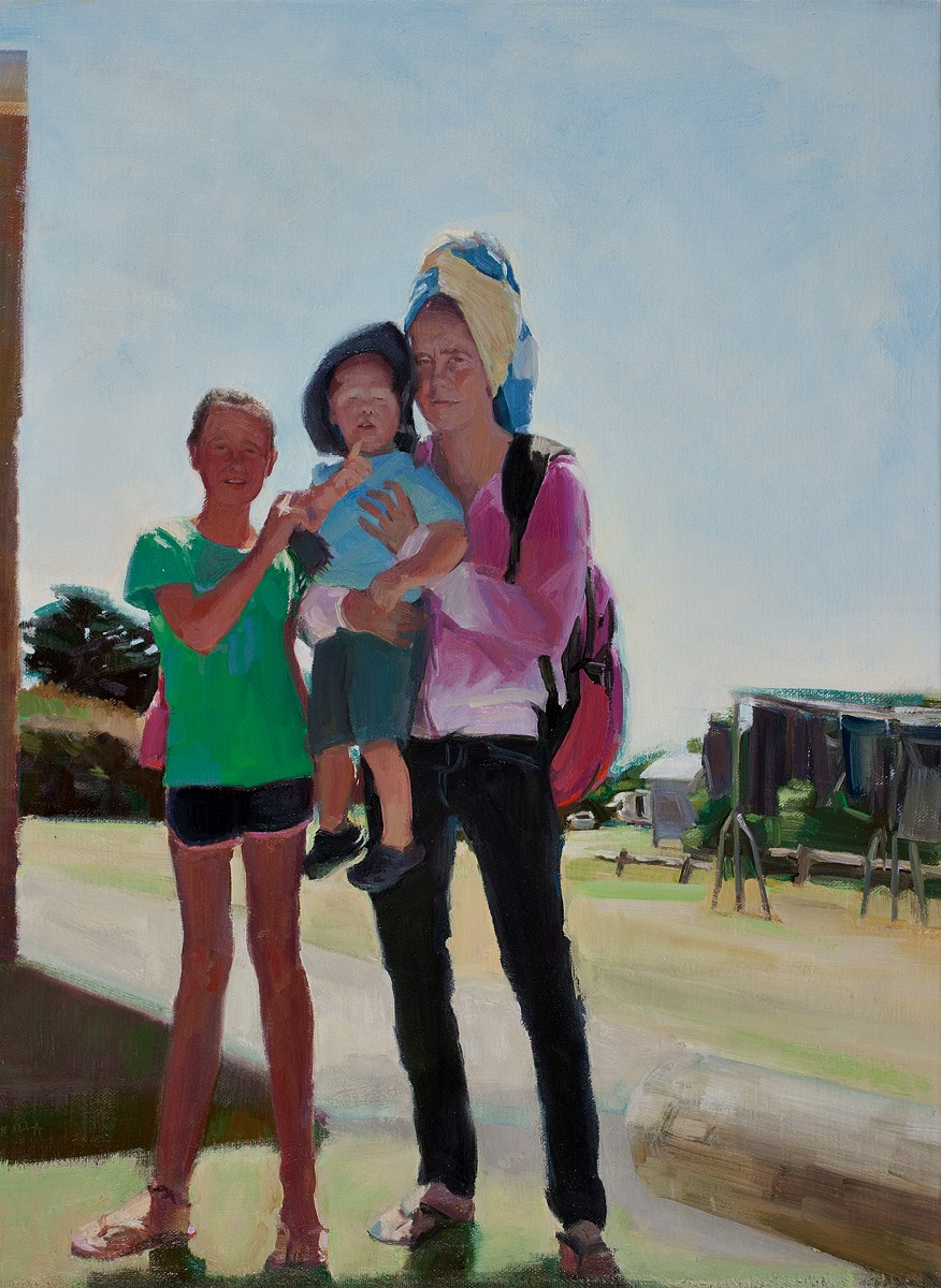 When kids have kids- caravan park  oil on linen 83 x 63cm $5800