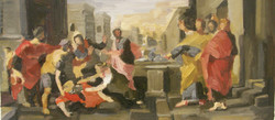 Death of Sapphira oil on canvas after poussin