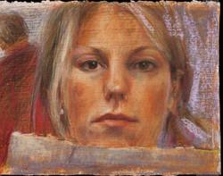 Self portrait pastel on paper 25 x 19cm