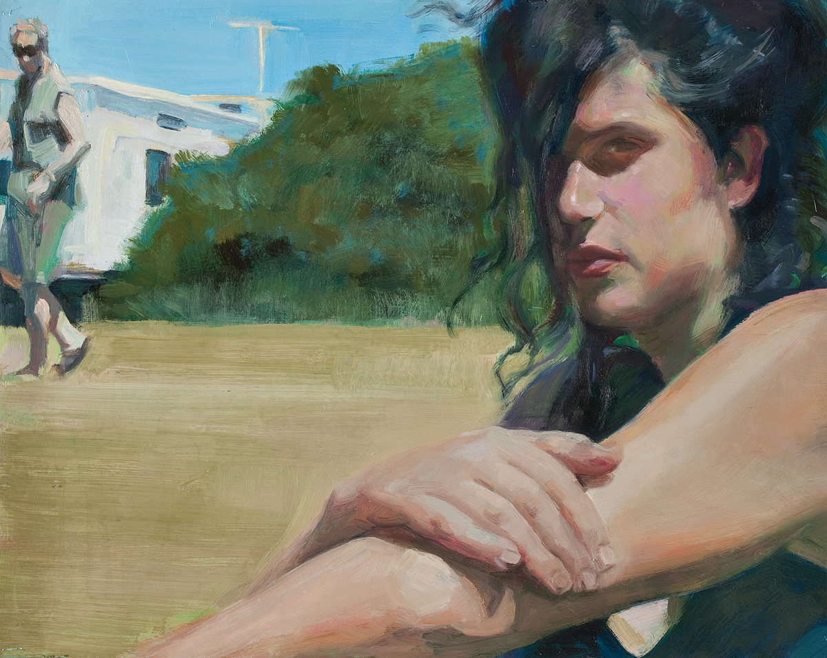 Lara- caravan park series oil on paper  400 x 790mm
